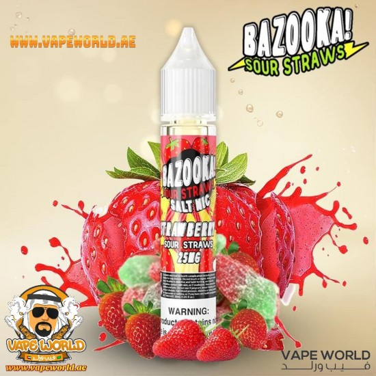 BAZOOKA SOUR STRAWS SALTNIC - STRAWBERRY 30ML